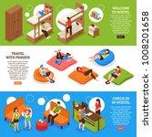 hostel horizontal isometric... | Shutterstock .eps vector #1008201658