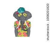 elephant dressed up in summer...   Shutterstock .eps vector #1008201820
