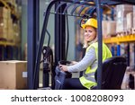 woman warehouse worker with... | Shutterstock . vector #1008208093