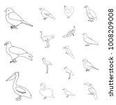 types of birds outline icons in ... | Shutterstock .eps vector #1008209008
