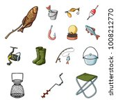fishing and rest cartoon icons... | Shutterstock .eps vector #1008212770