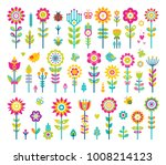 flowers collection  poster with ... | Shutterstock .eps vector #1008214123
