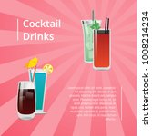 cocktail drinks summer party... | Shutterstock .eps vector #1008214234