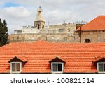 View of  Jerusalem tile roofs - stock photo