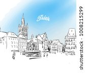 sketch of trier in germany.... | Shutterstock .eps vector #1008215299