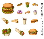 fast food cartoon icons in set... | Shutterstock .eps vector #1008216580