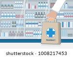 pharmacist hand holding... | Shutterstock .eps vector #1008217453