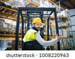 warehouse man worker with... | Shutterstock . vector #1008220963