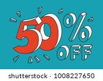 50   off. red fifty number on... | Shutterstock .eps vector #1008227650