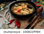 bowls of asian soup noodles and ...   Shutterstock . vector #1008229984