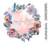 hand drawn watercolor wreath of ...   Shutterstock . vector #1008230890