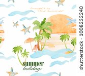 watercolor nautical theme on... | Shutterstock . vector #1008232240