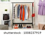rack with collection of clothes ... | Shutterstock . vector #1008237919