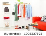 rack with collection of clothes ... | Shutterstock . vector #1008237928