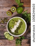 green smoothie bowl | Shutterstock . vector #1008244603