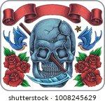 hand drawn old school tattoo... | Shutterstock .eps vector #1008245629