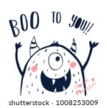 hand drawing monster... | Shutterstock .eps vector #1008253009