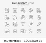 thin line icons set of pharmacy ... | Shutterstock .eps vector #1008260596