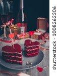 red velvet cake for valentine s ...   Shutterstock . vector #1008262306