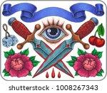 hand drawn old school tattoo...   Shutterstock .eps vector #1008267343