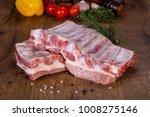 raw pork meat over wooden... | Shutterstock . vector #1008275146
