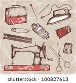 hand drawn tailoring set | Shutterstock .eps vector #100827613