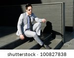 Portrait of a handsome young businessman - stock photo