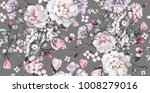 seamless pattern with flowers... | Shutterstock . vector #1008279016