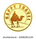 happy travel   rubber stamp in... | Shutterstock .eps vector #1008281134