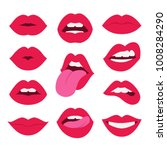red lips collection. vector... | Shutterstock .eps vector #1008284290