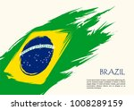 brazil flag  brush stroke... | Shutterstock .eps vector #1008289159