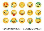 emoji set. cute funny emotional ... | Shutterstock .eps vector #1008292960