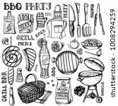barbecue and grill set .vector... | Shutterstock .eps vector #1008294259
