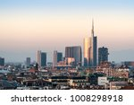milan cityscape at sunset | Shutterstock . vector #1008298918