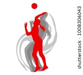 volleyball player woman in red... | Shutterstock .eps vector #1008306043