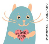 happy valentine cute cat... | Shutterstock .eps vector #1008307390