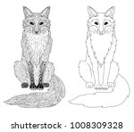fox animal page doodle and... | Shutterstock .eps vector #1008309328