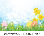 vector easter eggs in grass and ... | Shutterstock .eps vector #1008312454