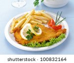 chicken cutlet with chips on... | Shutterstock . vector #100832164