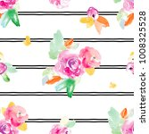 repeating watercolor flower... | Shutterstock . vector #1008325528