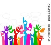 group of raising hands with... | Shutterstock .eps vector #1008333460
