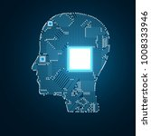 circuit board head | Shutterstock . vector #1008333946