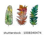 hand drawn feather set with... | Shutterstock .eps vector #1008340474
