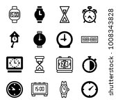 clock icons. set of 16 editable ... | Shutterstock .eps vector #1008343828