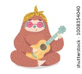 cute cartoon sloth in hippie... | Shutterstock .eps vector #1008354040