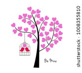 valentines day birds with tree... | Shutterstock .eps vector #1008355810