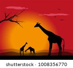 vector illustration of giraffe | Shutterstock .eps vector #1008356770