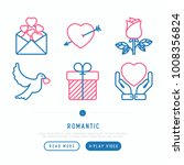 romantic thin line icons set ... | Shutterstock .eps vector #1008356824