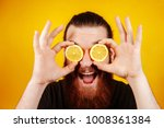 happy bearded hipster man with... | Shutterstock . vector #1008361384