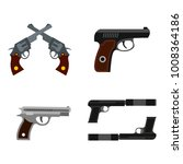 pistol icon set. flat set of... | Shutterstock .eps vector #1008364186